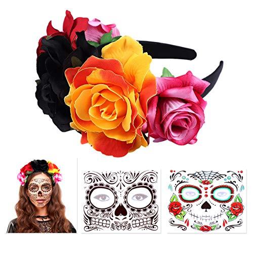FRCOLOR Haarreif mit Blumen, Tag der Toten Rosen Haarreif mexikanischen Blumen Kronen mit 2 Stück Halloween Temporäre Gesicht Tattoos Toten Zucker Schädel Tattoos