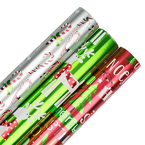 JAM PAPER Assorted Gift Wrap - Christmas Foil Wrapping Paper - 75 Sq Ft Total - Holiday Jingle Set - 3 Rolls/Pack
