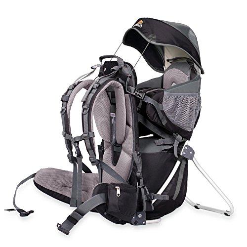 Dacony Corazon Panda Rückentrage – Kindertragerucksack | Baby Tragesystem mit Sonnenschutz und Steigebügel eignet Sich zum Wandern mit Kleinkind oder in der Stadt – Kompletes Set