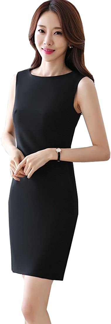 Womens Scoop-Neck Retro 1950s Style Sleeveless Fitted Business Pencil Dress