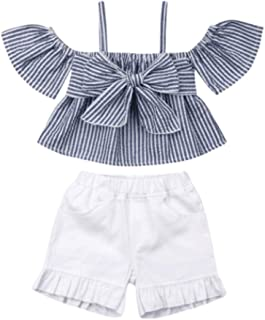 YOUNGER TREE Toddler Baby Girl Clothes Sets Off-The-Shoulder Ruffle Top + Shorts + Headband Casual Summer Outfits 3PCS 1-5T