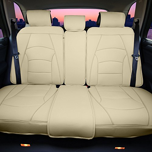 FH Group PU205013 Ultra Comfort Highest Grade Faux Leather Seat Cushions (Solid Beige) Rear Set with Gift – Universal Fit for Cars Trucks & SUVs