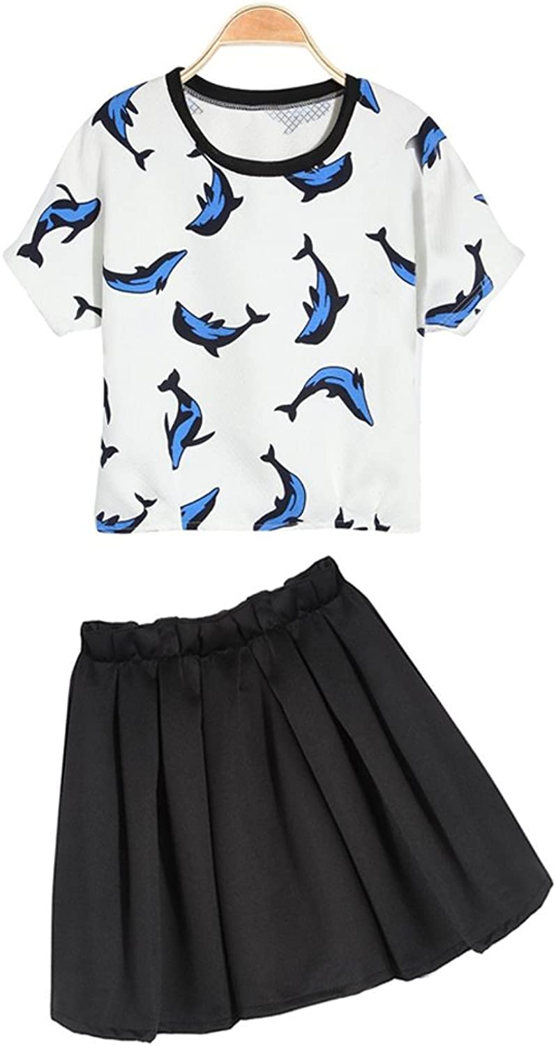 White Short Sleeve Round Collar Dolphin Print TShirt With Black Skirt