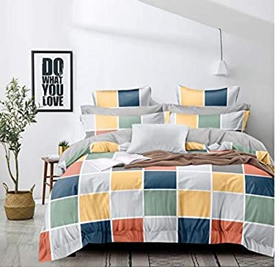 TIB Cotton Feel Polycotton King Size Bed Sheet with 2 Pillow Covers,90X100 Inches (Multicolour,Geometric)