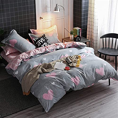 CCoutueChen Kids Duvet Cover Set Queen Full Size Girls Cute Pink Heart Printed Gray Bedding Set Reversible White Checked Plaid Soft Microfiber 3 Pieces Comforter Cover for Teens Women