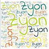 Zyon: 222 pages, size 8.5' x 8.5', white paper with light grey lines, Journal, Sketchbook, Notebook, Diary, white cover filled with wordcloud made of ... colors and directions and a red spline.