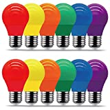 REPSN® Bombillas LED de 4 W = 35 W, bombillas de colores, LED, 4 W, E27, G45, colores mezclados, rojo, verde, azul, naranja, amarillo (12 unidades)