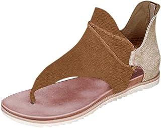 Yowablo Sandales Femmes Été Solide Clip-Toe Chaussures Zipper Casual Beach Flats Comfy