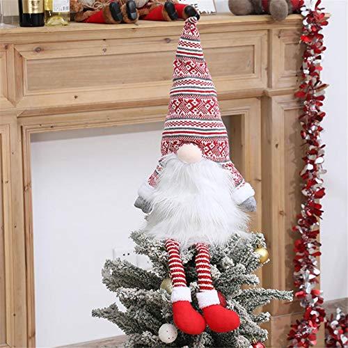 Junean Gnome Christmas Tree Topper, Swedish Tomte Gnome Christmas Ornaments Santa Gnomes, Plush Scandinavian Christmas Decorations for Christmas Tree Holiday Home Decor
