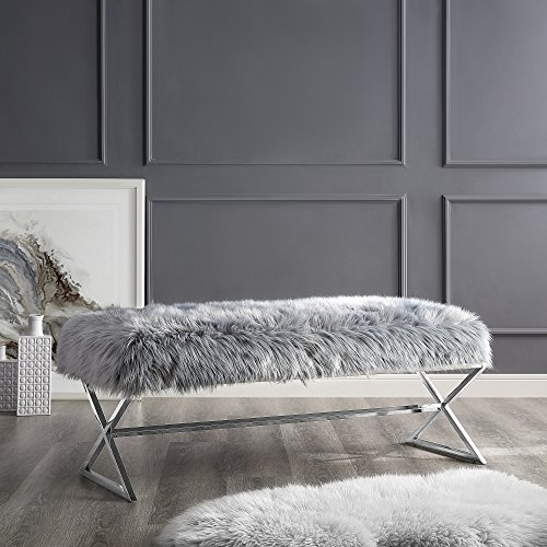 Aurora Grey Fur Upholstered Bench - Stainless Steel Legs   Chrome Tone   Living-room, Entryway, Bedroom   Inspired Home