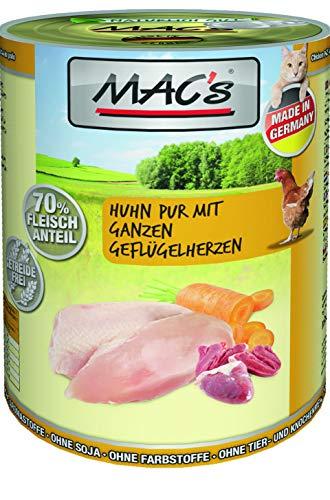 Mac's Katzenfutter getreidefrei Huhn mit ganzen Geflügelherzen, 6 x 800 g