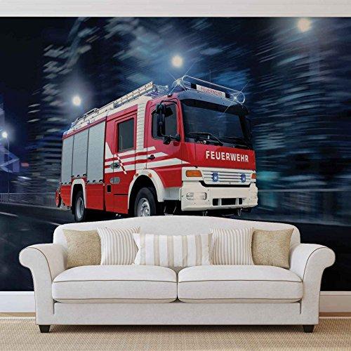 Feuerwehr Auto Fototapete Wandbild Bild Tapete VLIES (EasyInstall) (1924FW)
