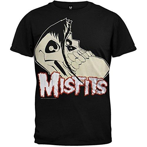 Misfits - Large Skull Logo Foil T-Shirt - Medium, Black