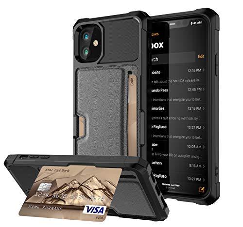 Funda compatible con iPhone 12 con tarjetero, PC duro + TPU flexible antigolpes y antigolpes [con soporte] funda para teléfono móvil, placa de metal magnética integrada (negro)