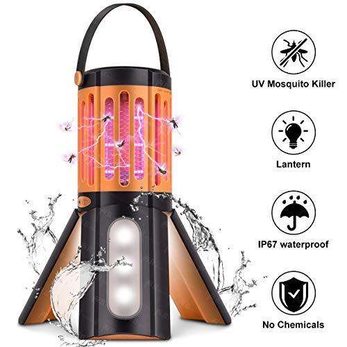Campinglampe UV Insektenvernichter, 2 in 1 Elektrisch Mückenfalle Bug Zapper mit Taschenlampe, IP67 Wasserdicht Moskito Killer LED Licht gegen Mücken, Fliegen, Moskitos für Innen und Außen
