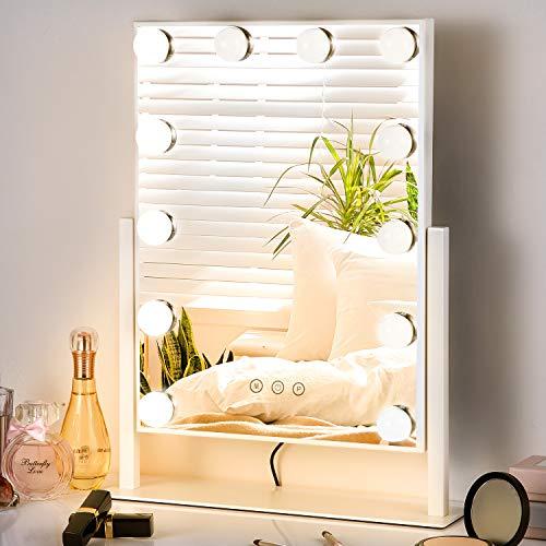 TOGETOP Hollywood Schminkspiegel mit 12 dimmbaren LED-Licht, 30x40cm Professionelle Make-up Spiegel, LED Kosmetikspiegel, Beleuchteter Tischspiegel Schminkspiegel 360° drehbar