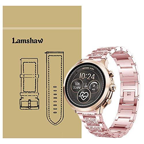 Ceston Diamante de imitación Metalica Acero Moda Correas para Reloj Inteligente Michael Kors Runway (18mm, Rosada)
