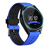 BINDEN Smartwatch V9 Resistente al Agua IP54 con Medidor de Ritmo Cardiaco, Ranura para SIM y Micro SD con Función de Teléfono - Azul