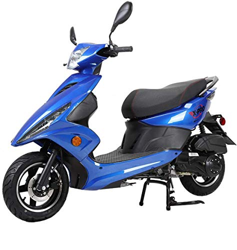 "X-PRO Bali Moped Scooter Street Scooter Gas Moped 150cc Adult Scooter Bike with 10"" Aluminum Wheels! Assembled in Crate! (Blue)"