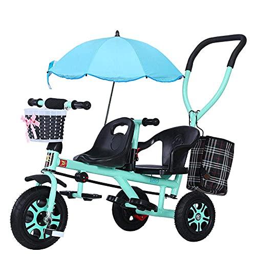 Tricicli Tricicli per Bambini a Mano, Biciclette per Bambini in Tandem, Biciclette, passeggini Leggeri con ombrelloni, tricicli per Bambini, Bianco (Color : Green)