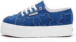 Superga Womens 2790 Denim Patchwork Casual Shoes Blue 6.5 Medium (B,M)