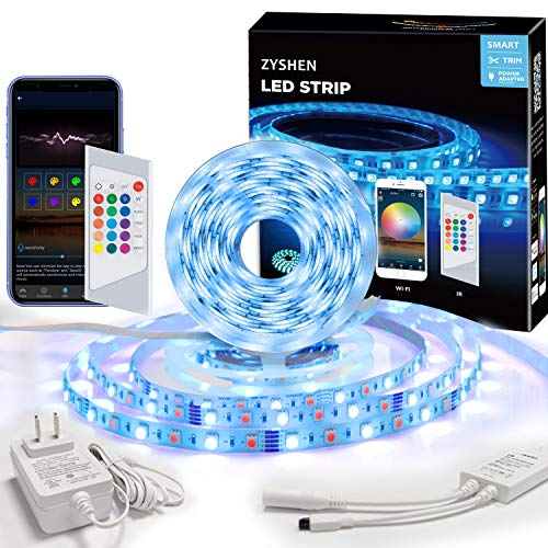 ZYSHEN LED Strip Lights, 32.8ft 5050 LEDs RGBW Pure White LED Lights with 24 Keys IR Remote Control and UL Power Supply, APP Connection Music Sync LED Lights for Bedroom Kitchen Home and Party