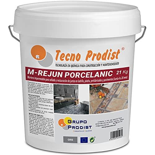 M-REJUN PORCELANIC de Tecno Prodist - (21 kg) Mortero para Lechada impermeable azulejos y suelos. Pavimentos cerámicos, ladrillos, piedra, etc. (Junta ancha de 4 a 20mm) Color Gris