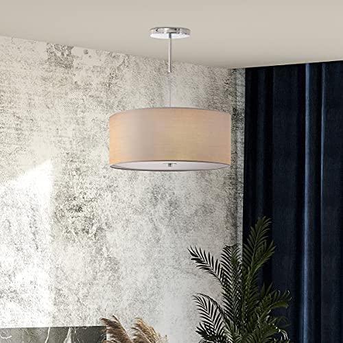 HOMCOM Lámpara de Suspensión Ø59x44 cm Lámpara Colgante Textil con Luces LED 36W con 3 Modos de Color y Soporte de Metal Dormitorio Sala de Estar Gris