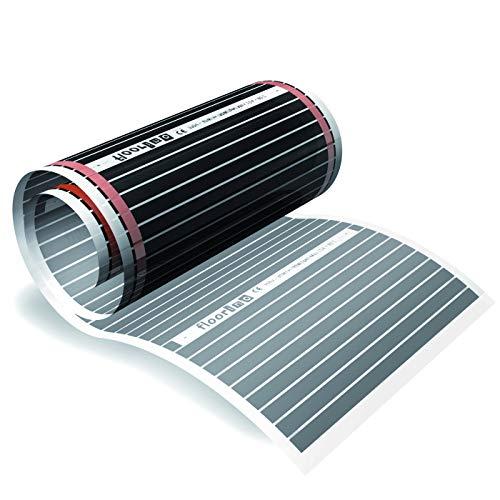 floorino – Infrarot Elektrische Fußbodenheizung für Laminat und Parkett, 2m x 0,5m (1m²), 80 Watt, Heizfolie Flächenheizung auch als Wandheizung / Deckenheizung z.B. im Wohnzimmer, Wohnwagen oder Wintergarten geeignet, mit Ansschluss-Set