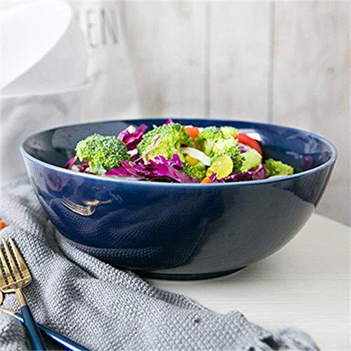 Vertice Household Storage Bowls Ceramic Super Large Capacity Salad Bowl Mixing Bowl Fruit Soup Ramen Bowl Serving Bowl 10.2-Inch Blue Tableware TINGG