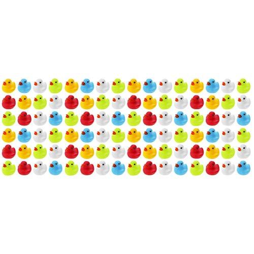 WELLGRO 96 Badeenten - bunt (gelb, rot, weiß, blau, grün), je Ente ca. 5,5 x 5 cm (ØxH), Gummiente, im Netz