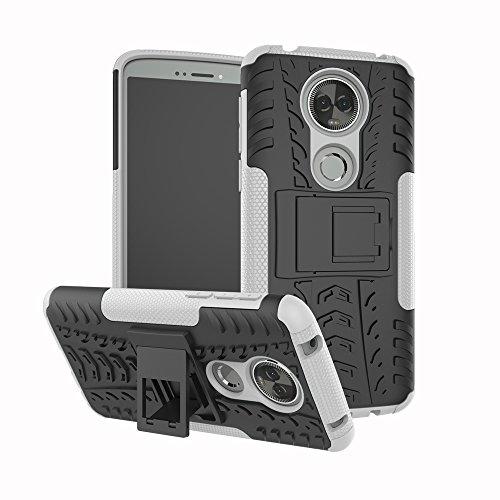 TiHen Handyhülle für Motorola Moto E5 Plus Hülle, 360 Grad Ganzkörper Schutzhülle + Panzerglas Schutzfolie 2 Stück Stoßfest zhülle Handys Tasche Bumper Hülle Cover Skin mit Ständer -Weiß