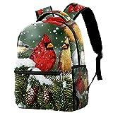 Liangbaiwan Mochila escolar para niñas niños mochila informal bolsa de viaje para senderismo Pájaro de nieve descansando en la rama con múltiples bolsillos