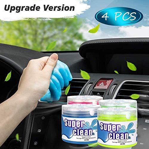 LuckyXX 4 Stück Auto Reinigungsgel, Weicher und Flexibler Tastatur Reiniger, Universeller Staubreiniger für Fernbedienung Auto Laptop Drucker Kamera Taschenrechner