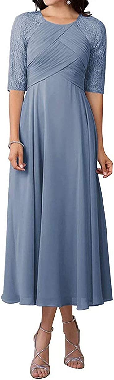 Mother of The Factory outlet Bride Dresses Tea Length Half Super sale period limited Mothe Sleeve Chiffon