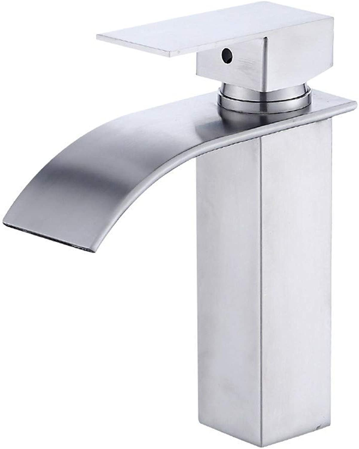 Oudan 304 Stainless Steel Basin Waterfall Faucet Hot and Cold Water Mixing Faucet Basin Wash Hand BasinS65-UE6589321705 (color   -, Size   -)