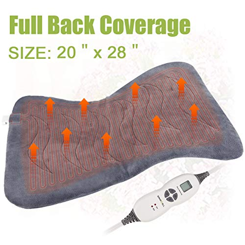 XXL Back Heating Pad  for Cramps Relief with X-Large Size 20' x 28' - Soft Electric Moist Heat Pad for Full Back with Fast-heating Technology Auto Shut-off, 6 Heat Settings, UL Listed