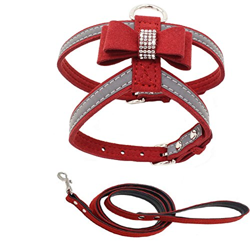 PETCARE Diamonds Bow Tie Dog Harness Vest and Leash Set Reflective Soft Microfiber Pet Dog Harness Adjustable Cute Fancy Bling Rhinestone Sparkly Collar Leash Set for Puppy Small Dogs Cats