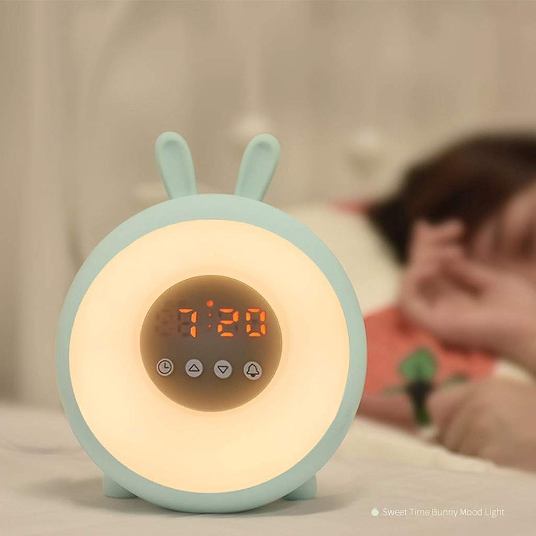 麻痺テクトニック染色IUYWL ナイトライトLEDデジタル目覚まし時計ベッドサイドランプ多機能雰囲気ライト、ピンク ウェイクアップライト (Color : Blue)