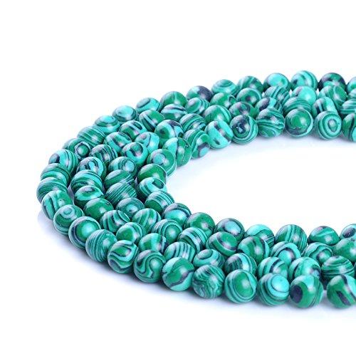 Bande de perles en pierre de malachite synthétique de 4 mm, 6 mm, 8 mm, 10 mm, 12 mm, 14 mm pour la fabrication de bijoux 39,4 cm