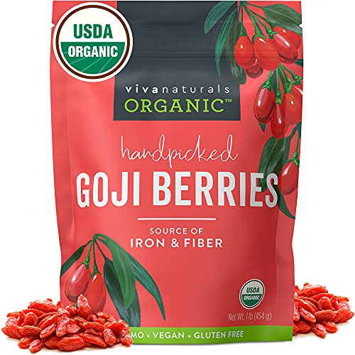 Organic Dried Goji Berries - Non-GMO and Vegan Goji Berries Organic, Perfect for Baking, Teas and Healthy Snacks for Adults (1 lb)