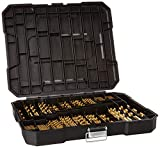 230 Pieces Titanium Twist Drill Bit Set, High Speed Steel, Size from 3/64' up to 1/2', Ideal for Wood/Steel/Aluminum/Zinc Alloy, with Hard Storage