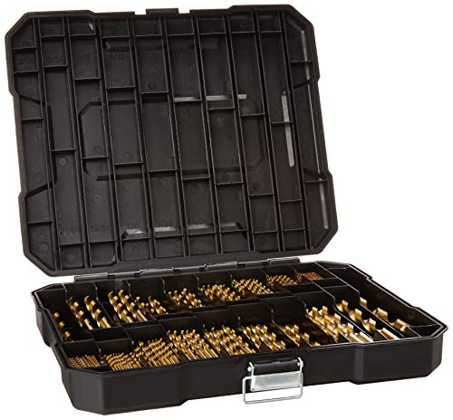 "230 Pieces Titanium Twist Drill Bit Set, High Speed Steel, Size from 3/64"" up to 1/2"", Ideal for Wood/Steel/Aluminum/Zinc Alloy, with Hard Storage"