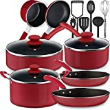Lightning Deals Non-Stick Induction Cookware Set, Dishwasher Safe Pots and Pans Set, Silicone Handle...