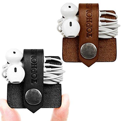 TOPHOME Cord Organizer Earbud Holders Earbud Case Earphone Earbud Headphone Organizer Cord Winder Earphone Wrap Winder Leather Headset Organizer (Black & Coffee, Set of 2)