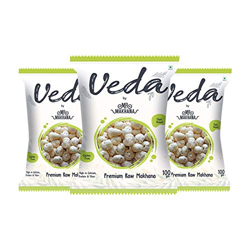 Mr. Makhana Veda Premium Plain & Raw Phool Makhana & Foxnuts : Plant Based, Gluten Free, High in Calcium, Protein & Fiber (100...