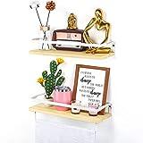 Lyihlou Estantería flotante de pared de madera con toallero, ideal para salón,...