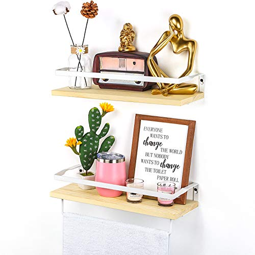 Lyihlou Wandregal schwebend Holz Wandmontierte schwebende Regale mit Handtuchhalter Rustikale Aufbewahrungsregale Ideal für Wohnzimmer Schlafzimmer Flur Badezimmer 2 Stücke (Holzfarbe)