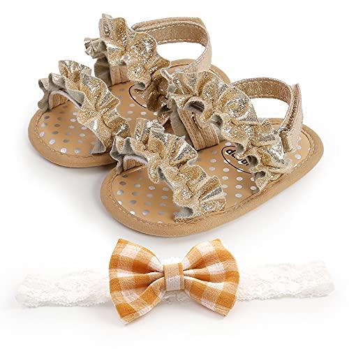 Carolilly Sandalias para bebé de verano para niña, antideslizantes, parte inferior suave, con punta, transpirables, zapatos de princesa, zapatos para caminar
