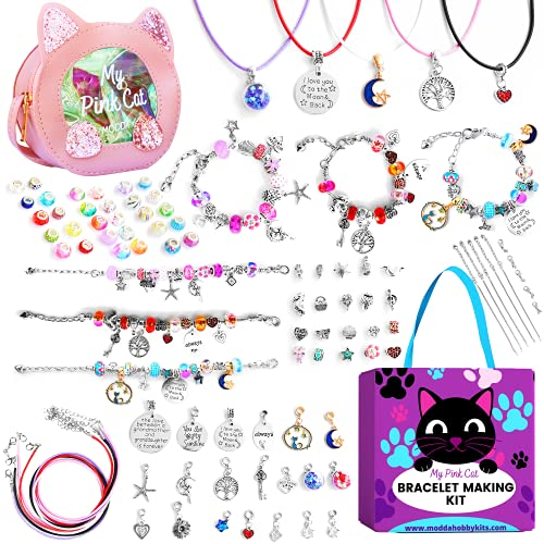 Modda Charm Bracelet Making Kit with Shoulder Bag, Assorted Beads and Charms, Jewelry Making Kit for Girls, Crafts for Kids, Toys for Girls, Gift for Girls Age 8-12